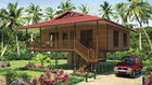 China Light Steel Frame Wooden Home Beach Bungalows With Shower , Kitchen factory